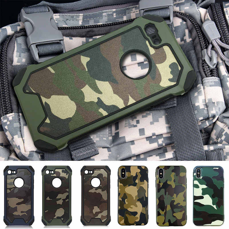 HereCase Army Camo Camouflage Pattern Case For iphone X 7 6 6S 8 Plus XR XS MAX cover protective Phone Cases for iPhone SE 5 5s