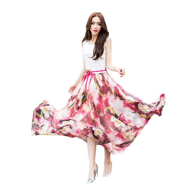 dbc17c01fcf New Quality Fancy Flower Print Long Skirt Feather Sash Women Elastic Waist  Ultra-long Big