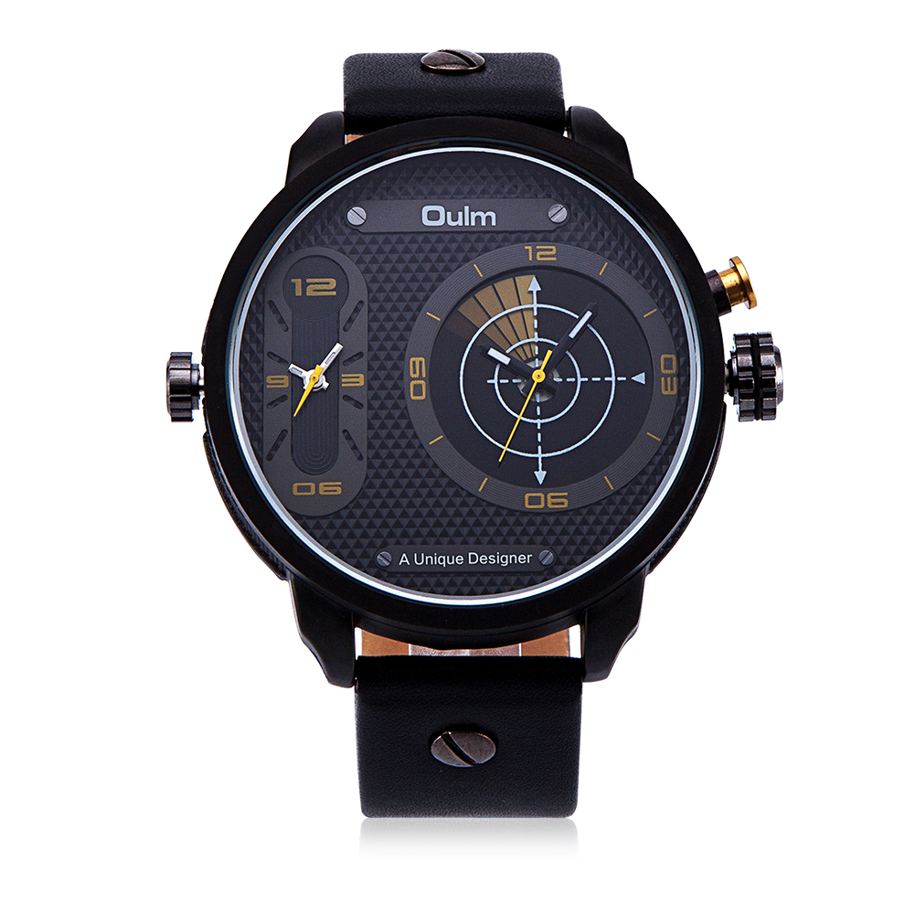 VH Military Men's Quartz Wrist Watches Luxury 2 Time Zone Leather Strap Watches Clock Reloj Hombre Unique Design Gift Box 2017 oulm men s casual military quartz wristwatch leather strap oversize dual time zone sub dial luxury dz watches design gift box