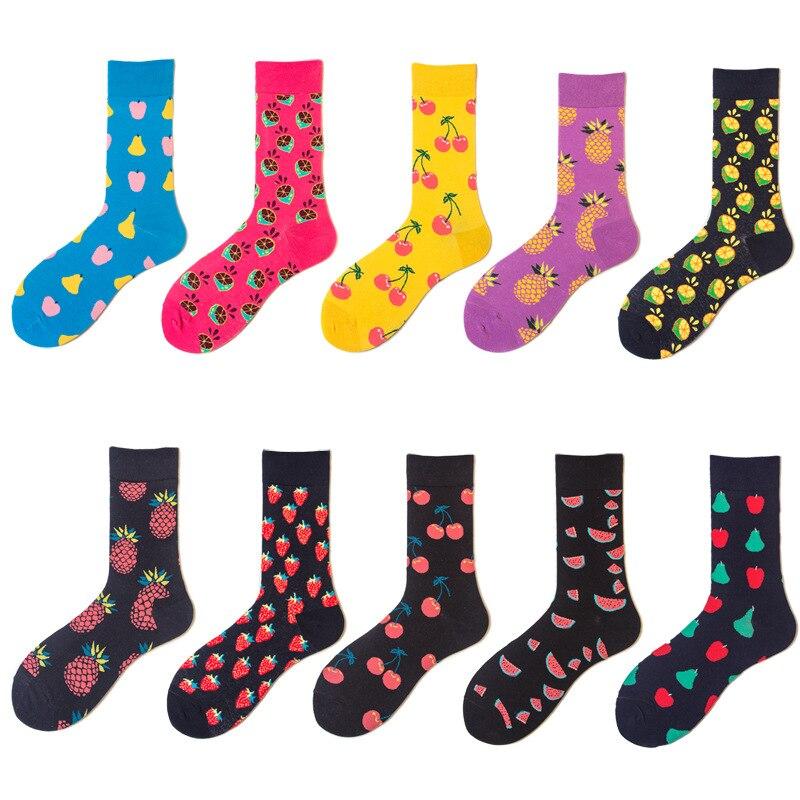 1 Pair Dropshipping  Socks Lemon Watermelon Cherry Colorful Fruit Fashion Long Cotton Men Socks Funny Novelty Socks