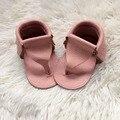 Comercio al por mayor 50 par/lote Nuevo T estilo de bebé de Cuero Genuinos Mocasines de Verano Zapatos de bebé Recién Nacido primer caminante antideslizante Infantil zapatos