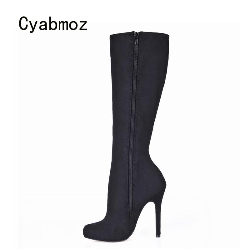 Cyabmoz Women Winter Snow Boots Shoes Woman Zapatillas Botas Zapatos Mujer Knee High Heels Zip Ladies Dress Club Party Shoes idg brand women slip on high heels short rough with the fall and winter metal buckle rivets shoes woman zapatos mujer tacon