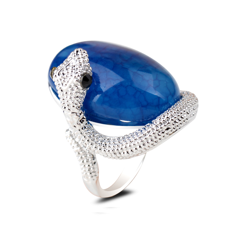 Silver Animal Snake Ring Oval Pink Gold Sand Green Blue Agate Diamond Crystal Gemstone Setting Finger Ring for Women Men Jewelry