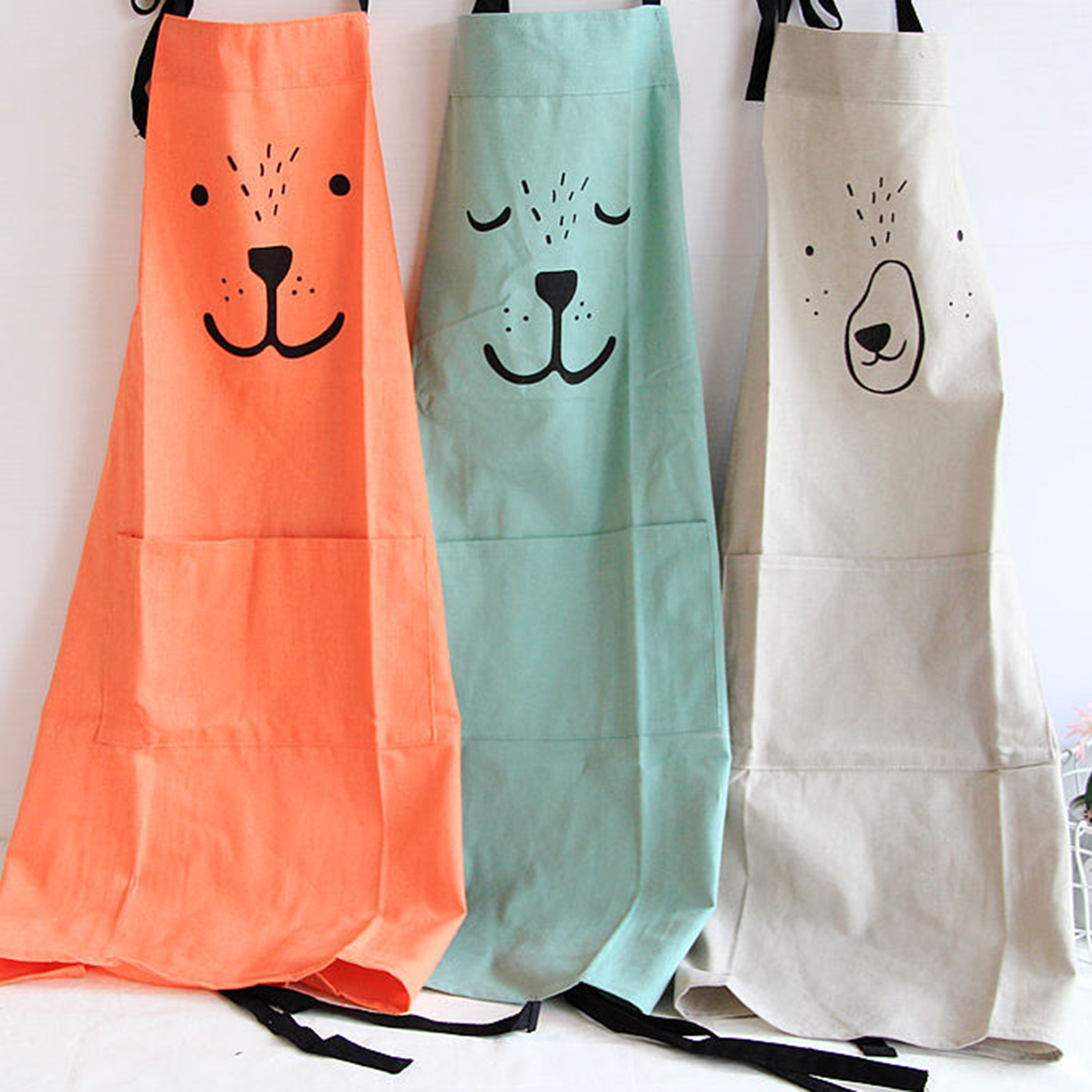 Creative Parent Child Cute Pattern Working Apron Zakka Kitchen Cooking Baking Painting Apron With Pocket