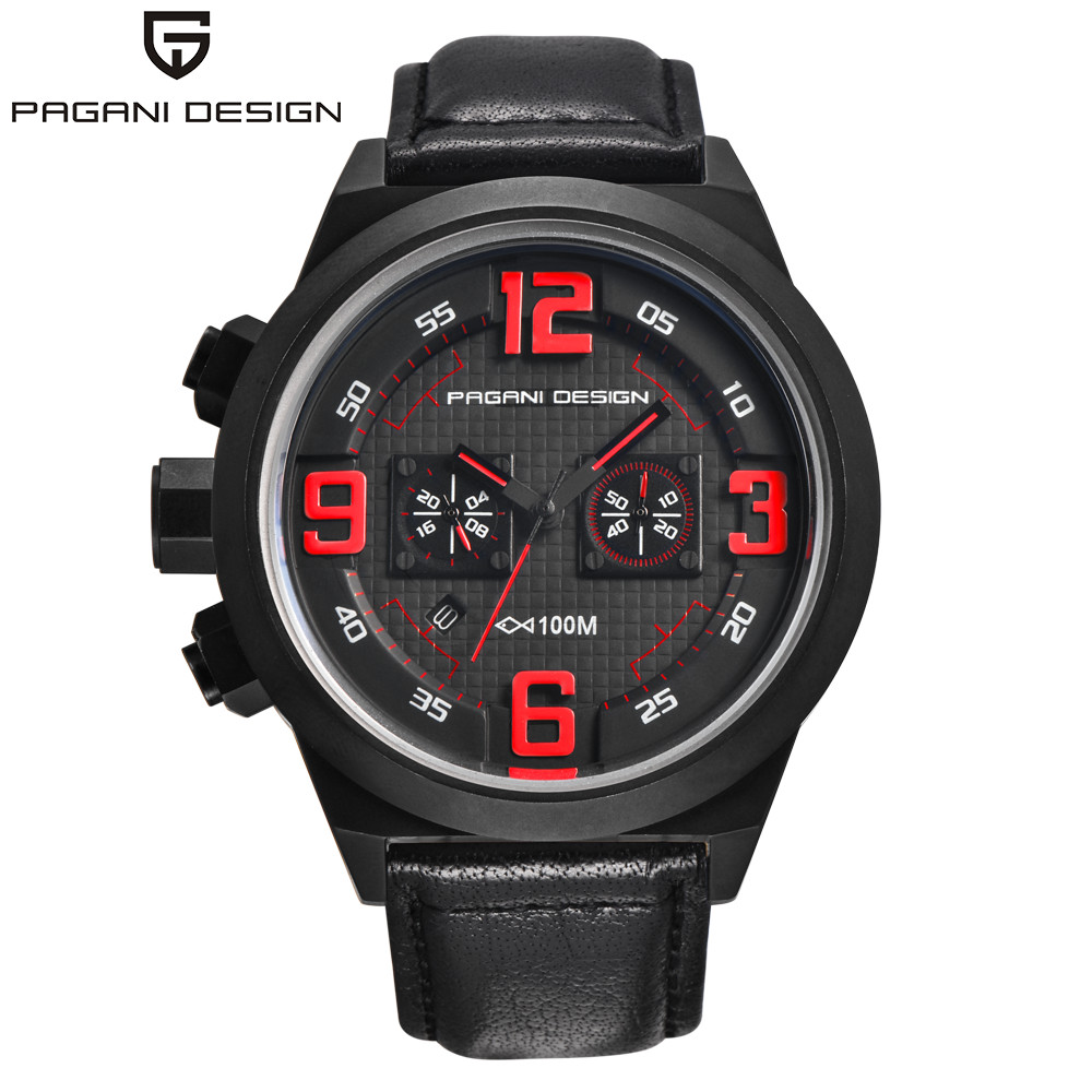 PAGANI DESIGN Brand Men Sport Watch Luxury Brand Quartz Chronograph Watch Male Waterproof Military Leather Wrist Watch Men Clock pagani design men watch top brand luxury stainless steel leather sport military watch male quartz wrist watch men clock 2018 new