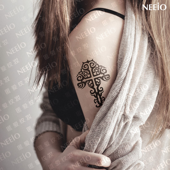 Temporary tattoo holy cross pattern arm leg waist neck back makeup tattoo sticker waterproof design men women new 2014 body art