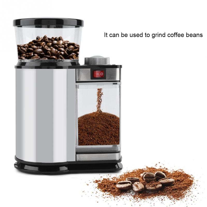 Practical Convenient Stainless Steel Durable Adjustable Electric Coffee Bean Grinder Kitchen Tool