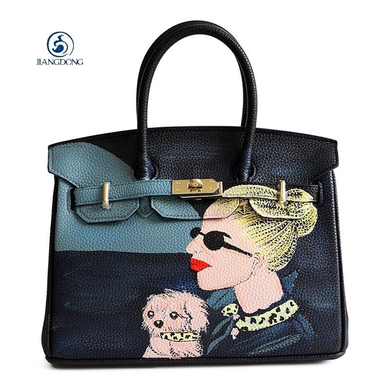JIANGDONG Custom Women Pu Leather Personalized Handbag Graffiti Bag Art Design Lady Pattern Messenger Bag Painter Hadnbag trendy graffiti pattern and tassels design satchel for women