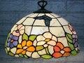 16 дюймов телесный кантри цветы Бабочка Тиффани подвесной светильник Витражная Лампа для спальни E27 110-240 В