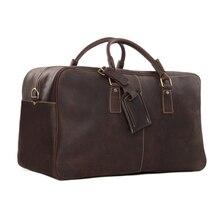 "ROCKCOW 20"" Super Large Leather Travel Bag Leather Duffle Bag Laptop Weekender Bag Overnight Bag 2014 New Arrival 7156"