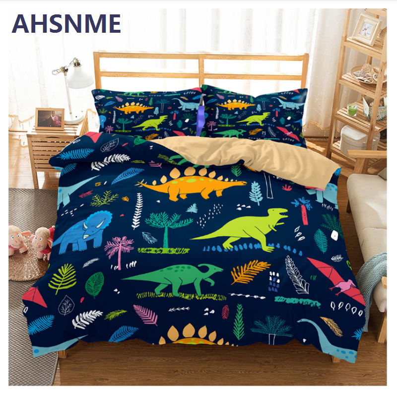 AHSNME Cartoon Dinosaur Bedding Set Jurassic World Tyrannosaurus Children Super Love Gift Quilt Cover Home Textiles