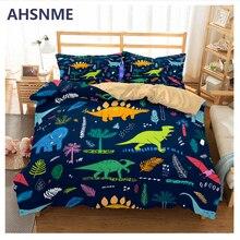 AHSNME الكرتون ديناصور طقم سرير العالم الجوراسي Tyrannosaurus الأطفال سوبر الحب هدية غطاء لحاف المنسوجات المنزلية