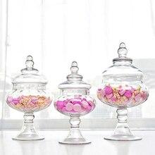 European style transparent Glass bottles dust-proof lid storage cake stand dessert candy jars tea caddy wedding vase Decoration