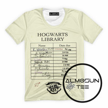 37593a2223c5 ALMOSUN Hogwarts Library Card 3D All Over Print T Shirts Hipster Short  Sleeve Hipster Summer Street