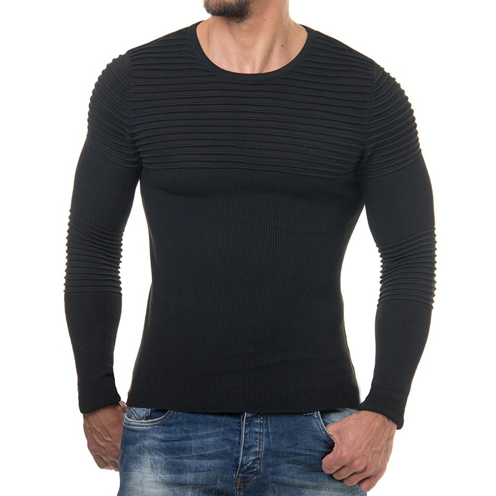 2018 Autumn Winter Pullover Men Sweater Jumper O Neck Pattern Slim Fit Knitted Solid Color Sweaters Knitwear Pullovers