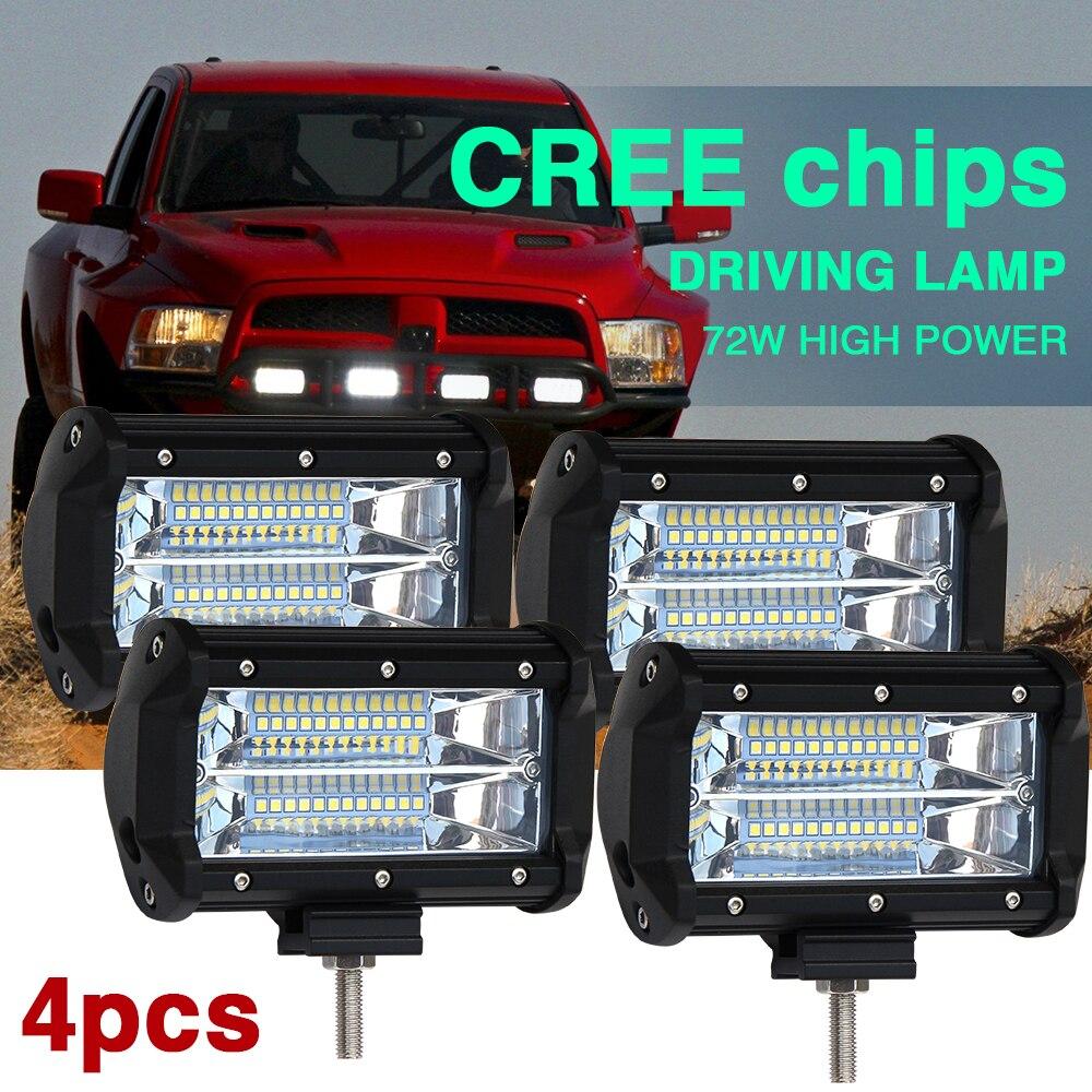 Со светло-4шт 72Вт 144w светодиодный свет работы бар пятно луча 8000 лм LED дальнего света для Lada 4x4 внедорожных джип внедорожник Киа УАЗ
