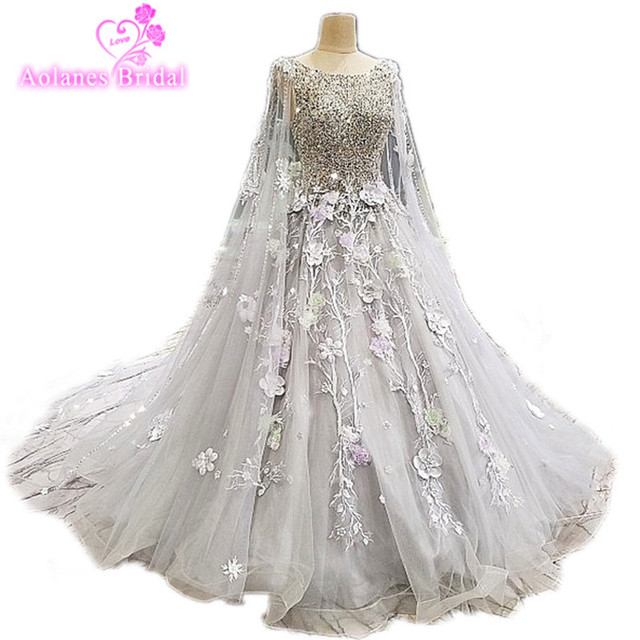 Real Photo Gray Lace Wedding Dresses Gowns Cape Shawl Crystal Top Flower Dress Long Train