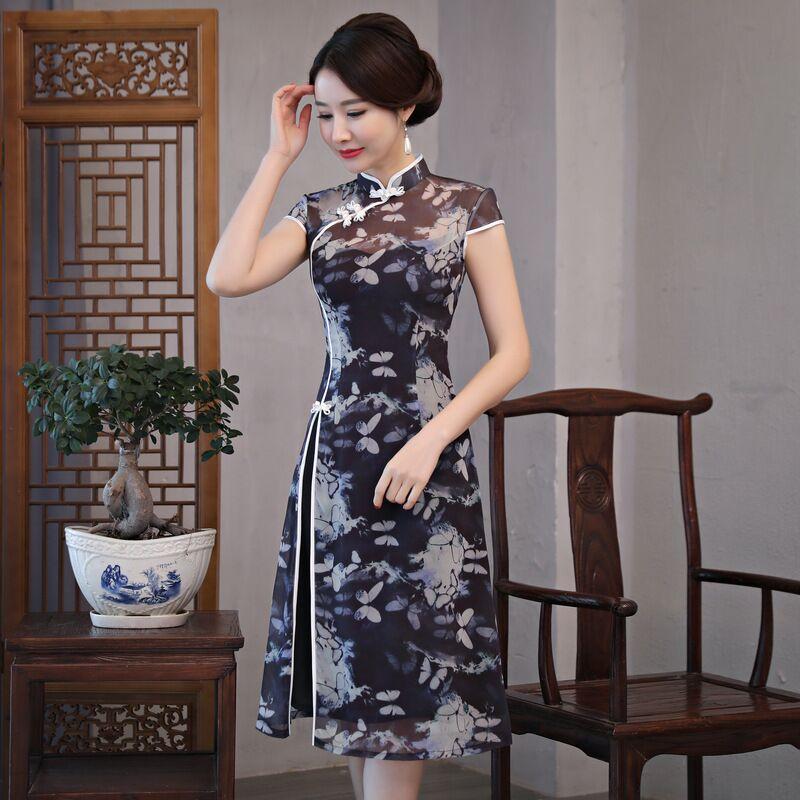 Mode chinois style genou Leng Cheongsam nouveauté femmes robe en mousseline de soie élégant Qipao Vestido taille S M L XL XXL XXXL 189685 - 3