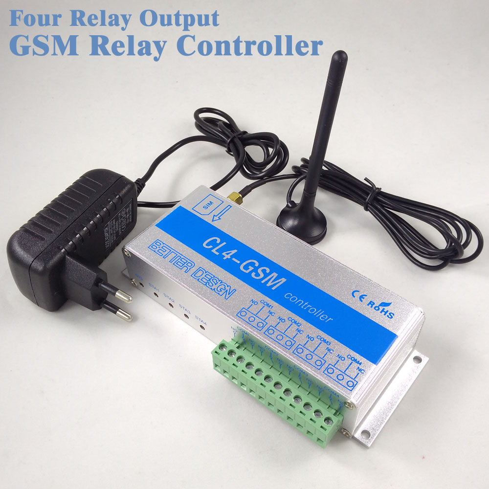 Four Output Gsm Relay Switch Call Sms Remote Control Light, Curtains, Garage Door,Water Pump and Intelligent Home CL4 GSM unit