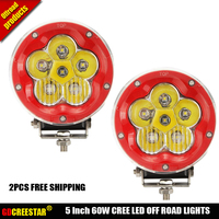 2PCS 5inch 60W Round Led Fog Lights Spot Black Red Off Road Led Lights Headlight 6Blubs 4x4 4WD Truck+Combo Cover Free Shipping
