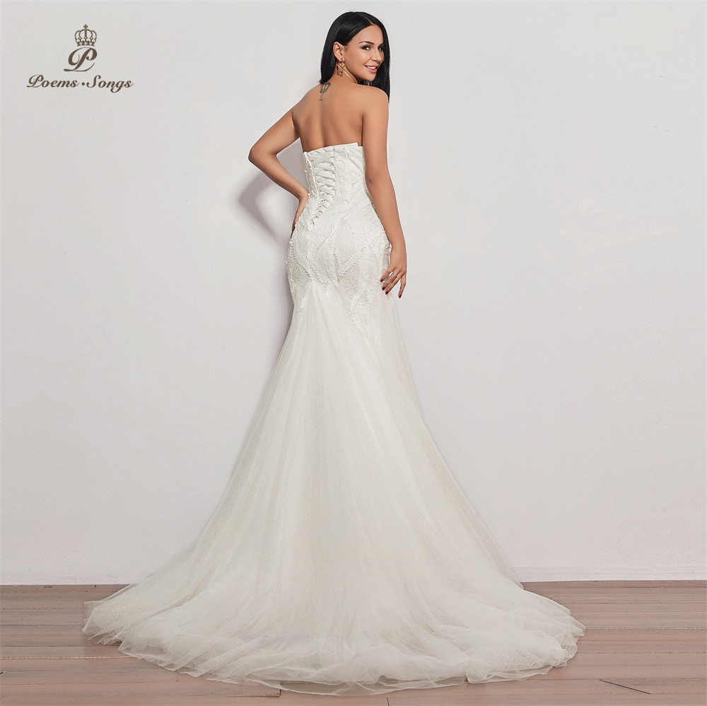 Image 2 - PoemsSongs  2019 new wedding dress strapless vestidos de novia wedding gown mermaid bridal dress sexy robe de mariee women-in Wedding Dresses from Weddings & Events