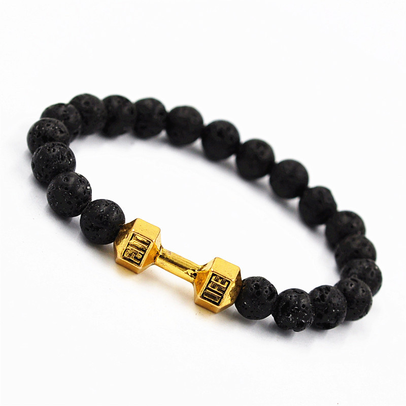 8mm Natural Black Lava Bracelet Metal Barbell Energy Stones Yoga Bracelets Jewelry Gift M972 LL@17