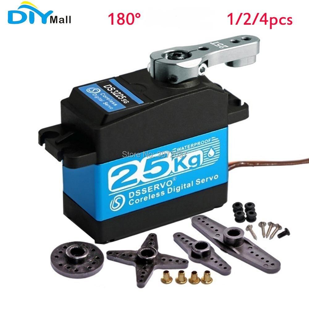 1/2/4pcs DIYmall 180° 180degree Waterproof High Speed Stainless Steel Gear Coreless Digital Servo 25KG/.07S for 1/8 1/10 Scale