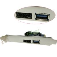 Nội bộ USB 3.0 + Power over eSATA + 9 Pin USB2.0 + External USB3.0 Lai để-E Điều Khiển Card + low profile bracket
