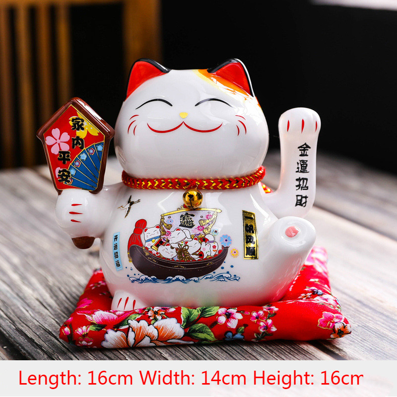6 Inch Shaking Hand Lucky Cat Ceramic Material Ornaments Small Swing Opening Gifts Home Company Cashier Decorations