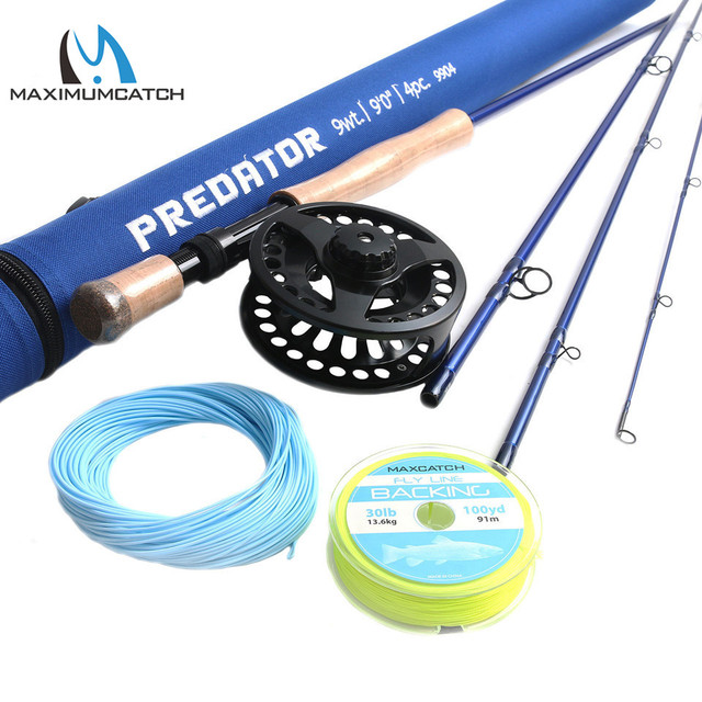 Cheap Maximumcatch 9FT Saltwater Fly Rod 8-10wt 4pcs 30T SK Carbon Fiber Fly Fishing Rod with 9/10wt Fly reel&Line Combo