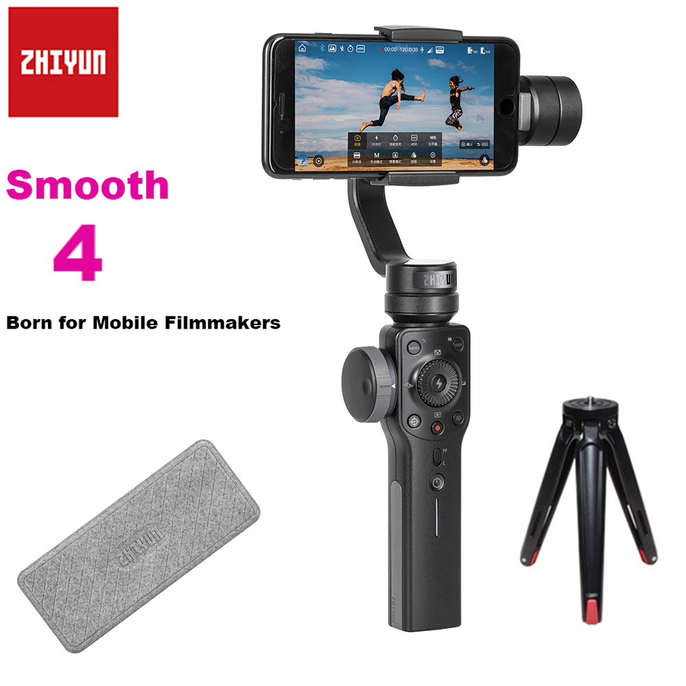 Zhiyun Smooth 4 3-Axis Focus Pull & Zoom Capability Handheld Gimbal Stabilizer for iPhone X 8Plus 8 7Plus 7 6S Samsung S9 S8+ S8 zhiyun smooth 4 3 axis handheld smartphone gimbal stabilizer vs zhiyun smooth q model for iphone x 8plus 8 7 6s samsung s9 s8 s7