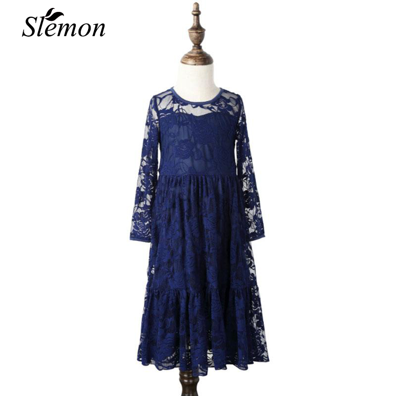 2018 Spring Girl Lace Long Maxi Dress Flower Hollow Baby Kids Girls Princess Teenage Wedding Prom Party Dresses 3 5 7 10 12 Year