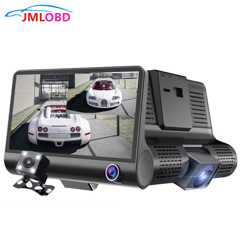 Triple Lens DVR Dash Cam Safety Speed Control Voice System Vehicle Night vision 3 Cameras Car Recorders
