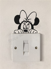 Beauty Cartoon Decor Vinyl Art Removeable Minnie Mouse Mickey Light Switch Wall Sticker Cute Kidsroom Poster LY891