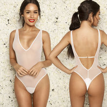 Sexy See Through High Cut Bodysuit Thong Swimsuit Transparent Sheer Milk Spandex Erotic Lingerie Women Underwear Body Suits(China)