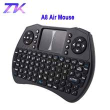 Backlit A8 Udara Mouse Mini Keyboard Nirkabel Touchpad Remote Control untuk Android TV Box Lampu Latar PC PS3 Gamepad I8 Upgrade(China)