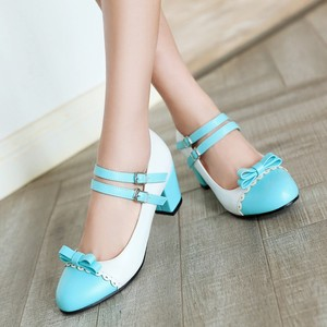 Image 4 - ビッグサイズ 11 12 女性のハイヒールの女性の靴の女性はボタン縛ら単一の靴と丸頭とカラーマッチング