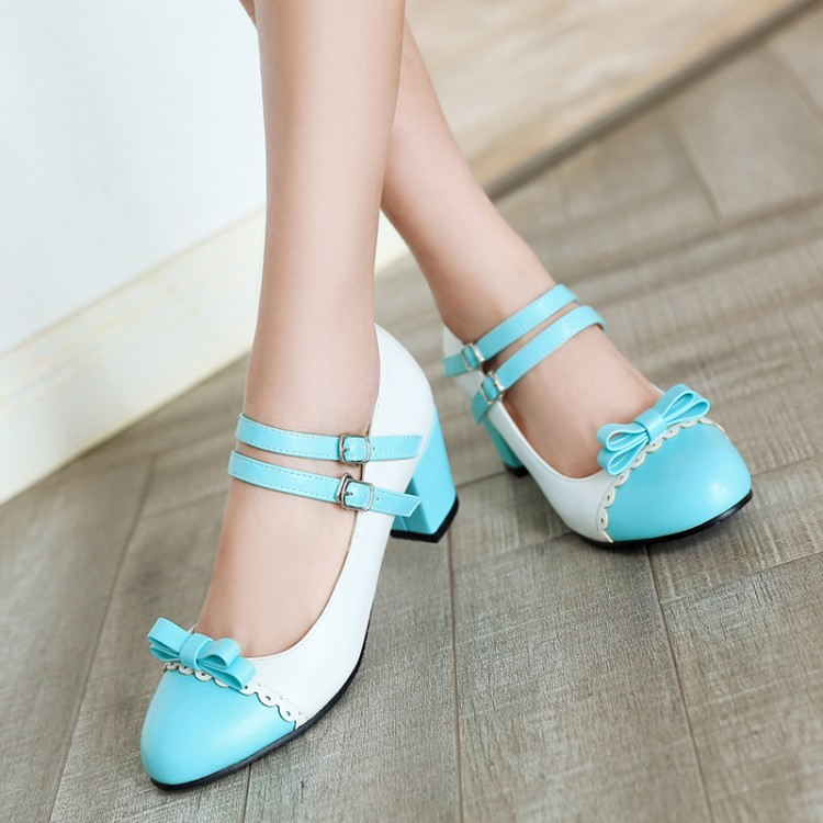 Image 4 - Big Size 11 12 ladies high heels women shoes woman pumps Button tied single shoe with round head and color matchingWomens Pumps   -