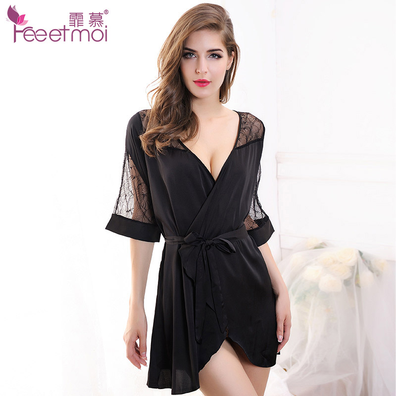 Kimono Sexy Lingerie Women Nightwear Underwear Babydoll Solid Rayon Deep V-Neck Erotic Lingerie Sexy Hot Sex Clothes Nuisette