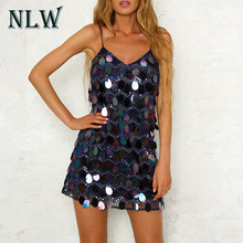 NLW Sequin Spaghetti Sexy Korte Kerst Jurk Vrouwen Vestidos Beach Party Night Club Jurken Mesh Backless Vestidos Roze Geel(China)