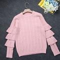 2017 Korean Style Sweet Women Sweater White Pink New Autumn jumper Fashion Ruffles Slim Long Sleeve Female Sweater knitting Warm