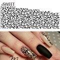 1 Folha Sexy Leopard Nail Art Transferência de Água Adesivos Preto/Branco Ferramentas Manicure Marca D' Água Prego Dicas Decalques Completa Wraps B304
