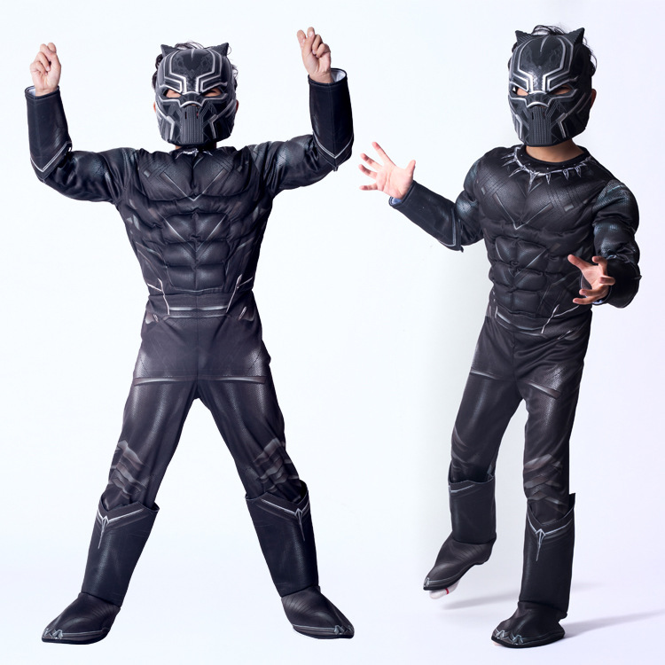Boy Black Panther Mask Jumpsuit Cosplay Fancy Dress Kid Marvel Superhero Costume Captain America Civil War Movie Cosplay image