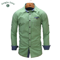 JUNGLE ZONE European Size New Arrival Men S Shirt Long Sleeve Plaid Shirts Mens Dress Shirt