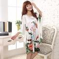 Plus Size Fashion Women Bath Robe Nightgown Pijama Mujer Printed Design Female Rayon Nightdress Summer Night Gown Zh565X