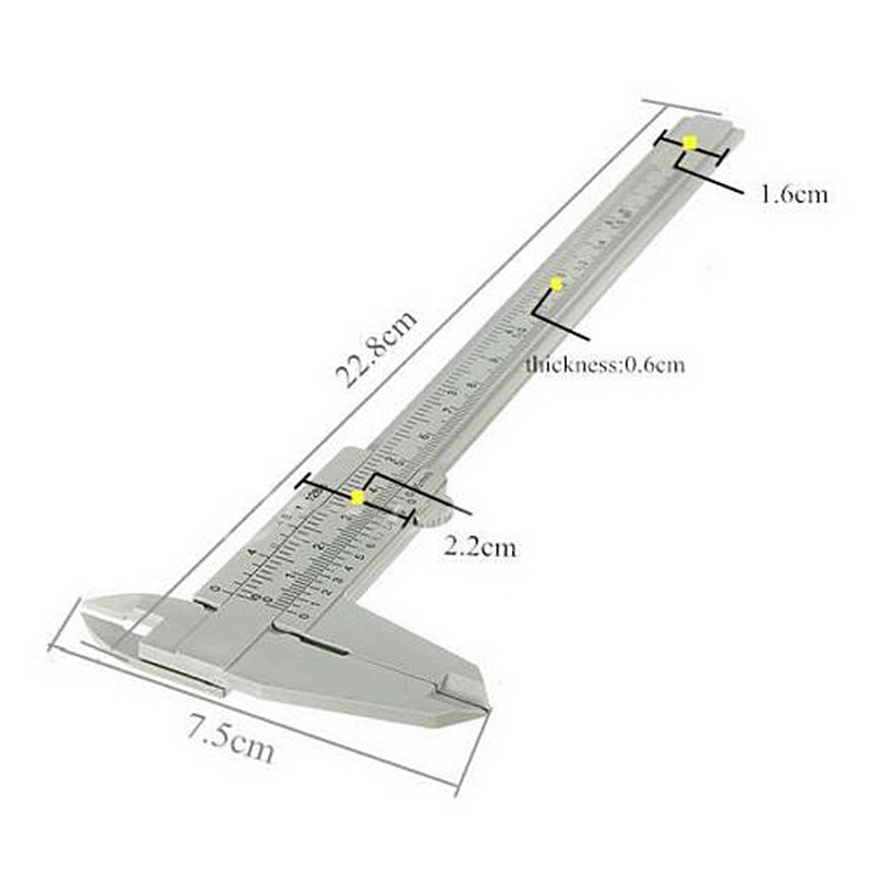 1 Piece Gray 150 mm Mini Plastic Sliding Vernier Caliper Gauge Measure Tool Ruler