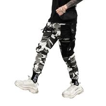 Color Camo Cargo Pants 2018 Mens Fashion Baggy Tactical Trouser Hip Hop Casual Cotton Multi Pockets Pants Streetwear multi pockets drawstring cuff camo cargo pants