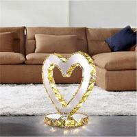 Clear Amber Crystal Table Lamp Abajur Luminaria de Mesa Lampara LED Escritorio Wedding Night Reading Light Love Heart Desk Lamp