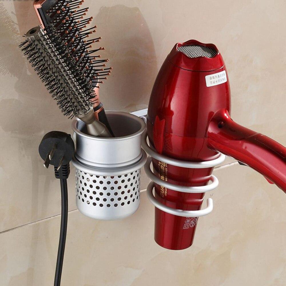 Badezimmerarmaturen Schlussverkauf Bequem Wand Montiert Haar Trockner Veranstalter Spirale Ständer Halter Rack Aluminium Bad Regal Lagerung