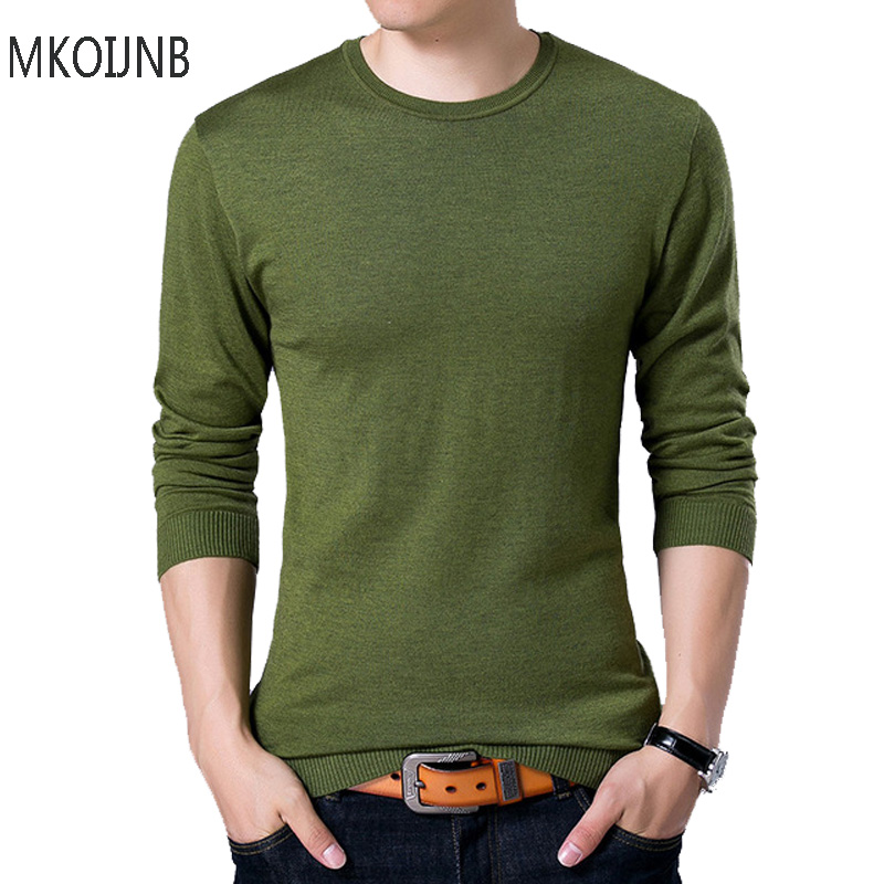 Fashion Style Solid Men's Sweater 2018 Spring Autumn Wool O-neck Black Sweater Mens Jumpers Male Pollover Knitted tops tees
